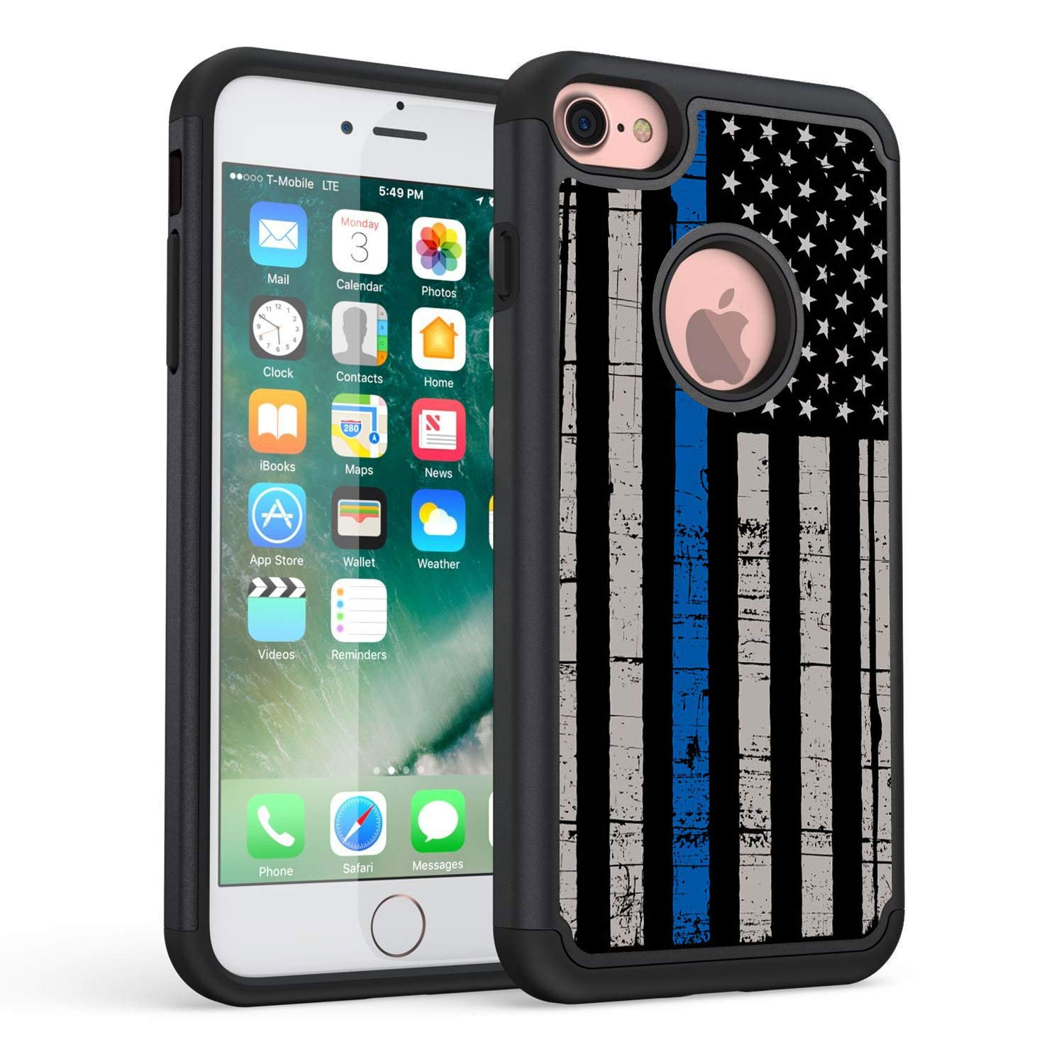 the best attitude 1170b 26903 iPhone 7 Case,iPhone 8 Case,Rossy Thin Blue Line American Flag Design  Shock-Absorption Drop Protection Hybrid Dual Layer Armor Defender  Protective ...