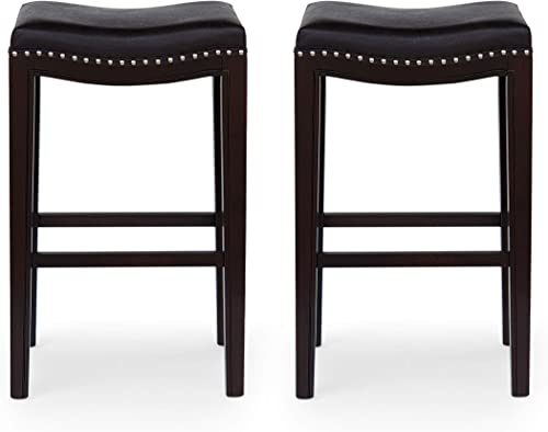 Spring Contemporary Studded Fabric Bar Stool Set of 2 , Black, Dark Brown, and Silver