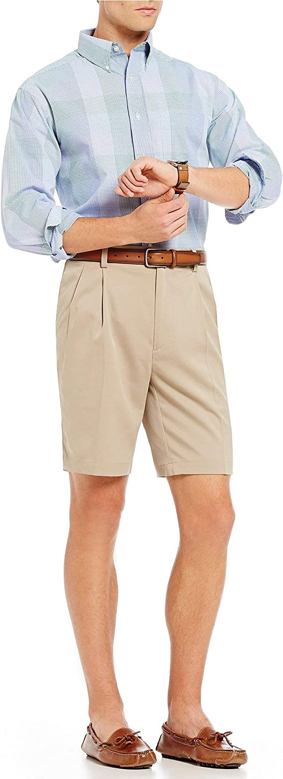 Roundtree /& Yorke Big /& Tall Pleated Washed Cotton 11 Inseam Shorts S85HR401T Khaki Size 40