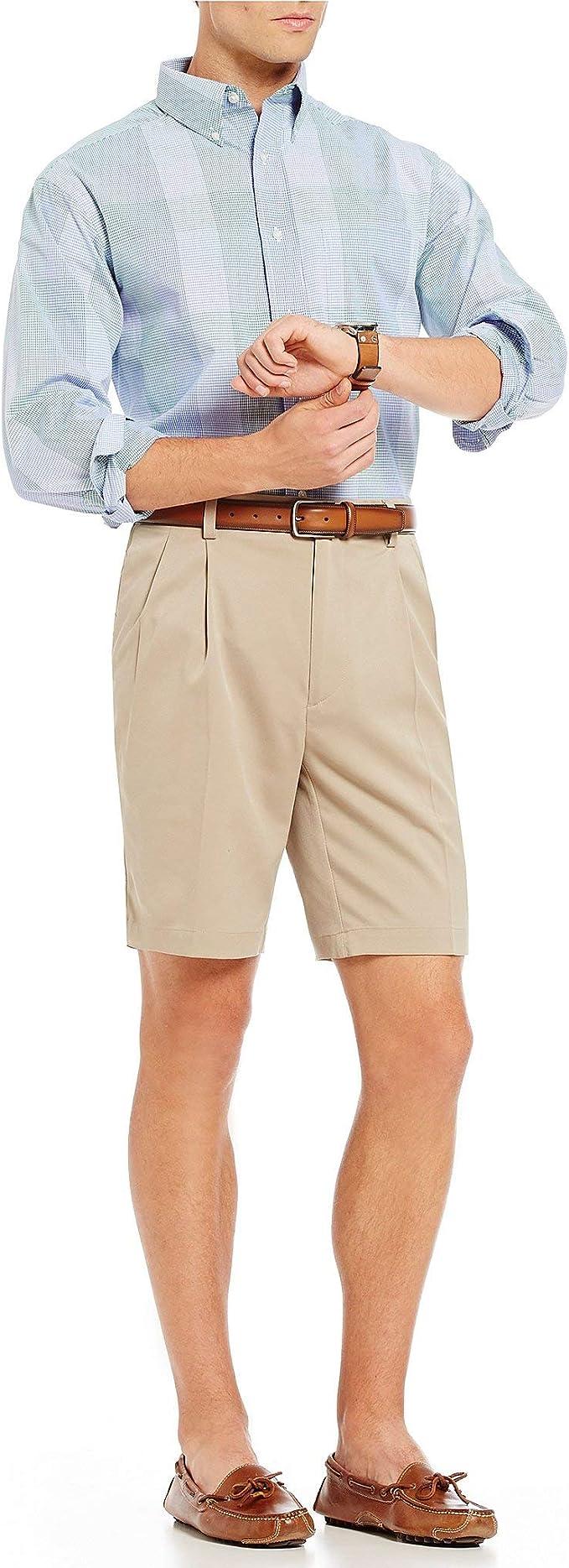 Roundtree /& Yorke Size 48 ELASTIC WAIST Khaki Cotton Pleated New Mens Shorts