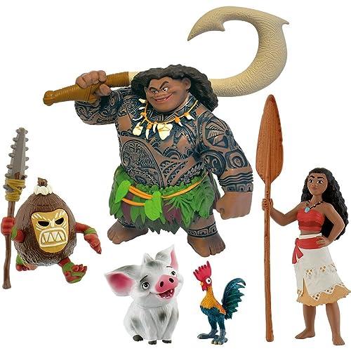 Bullyland Disney Vaiana compléter les 5 chiffres - Vaiana, Halbgott Maui, Pua, Hei Hei, Kakamoa - Bullyland Moana