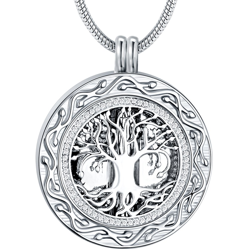 Memorial Gifts - 'Always in My Heart' 1 or 2 Vials Urn Locket Pendant Necklace - 'Tree of Life' Cremation Jewelry for Ashes - Keepsake for Dad Sister Grandma Aunt Wife Daughter Mom Ado Glo 2W39S-Box