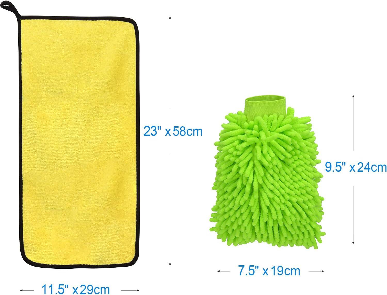 1 x Towel + 1 x Mitt + 3 x Sponges Awpeye Car Wash Mitt Car Sponge Microfiber Car Drying Towel Large Size Clean Tools Kits Washing Glove with Lint Free /& Scratch Free