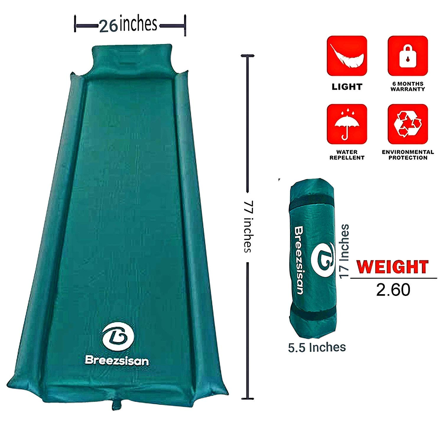 Breezsisan Sleeping Pad Camping Mat. Self Inflating Foam Pads with Pillow Armrest for Travel Backpacking Hiking Hammock Cot Tent Sleep Bag-Inflatable Large Single Air Bed-lightweight Camping Mattress
