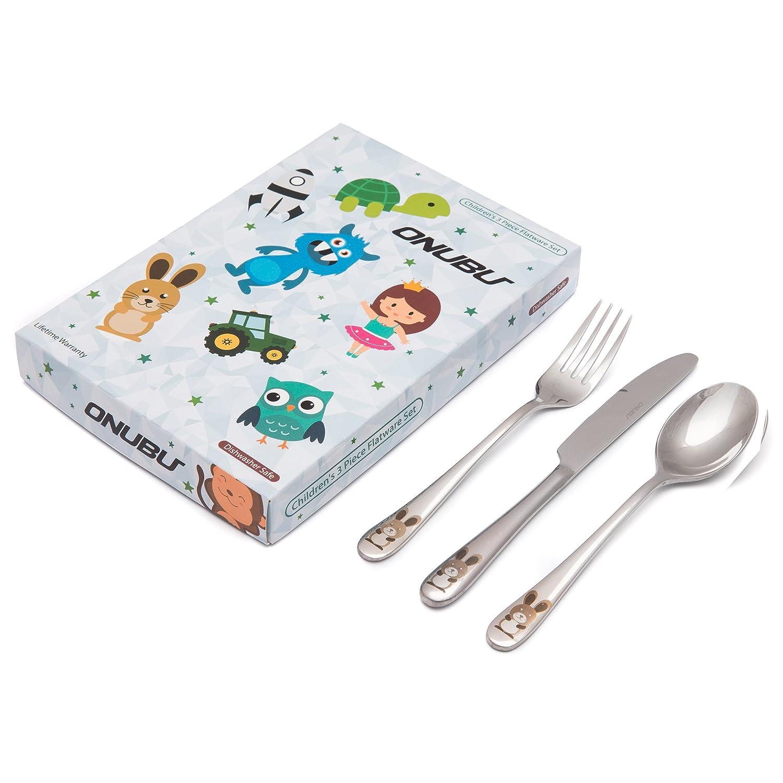 ONUBU Kids 18 10 Stainless Steel Utensil Set Rabbit 3 piece