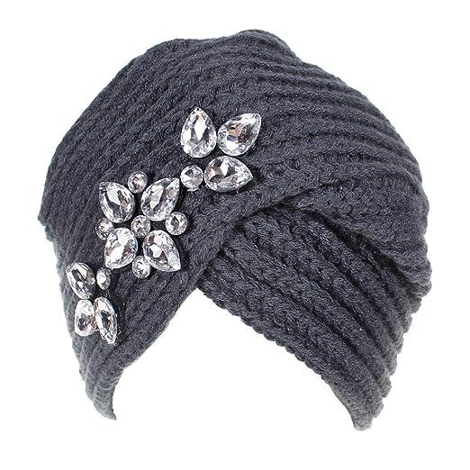 lotus.flower Women Ladies Baggy Warm Crochet Winter Wool Knit Ski Beanie Caps Hat Pile