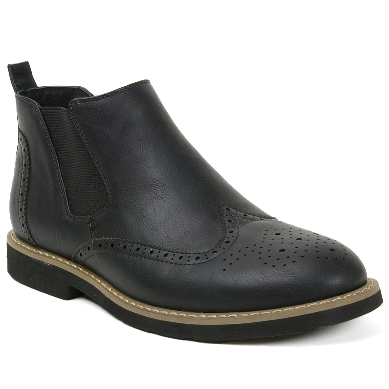 alpine swiss Bulle Mens Suede Lined Wing Tip Chelsea Ankle Boots Black 9 M US