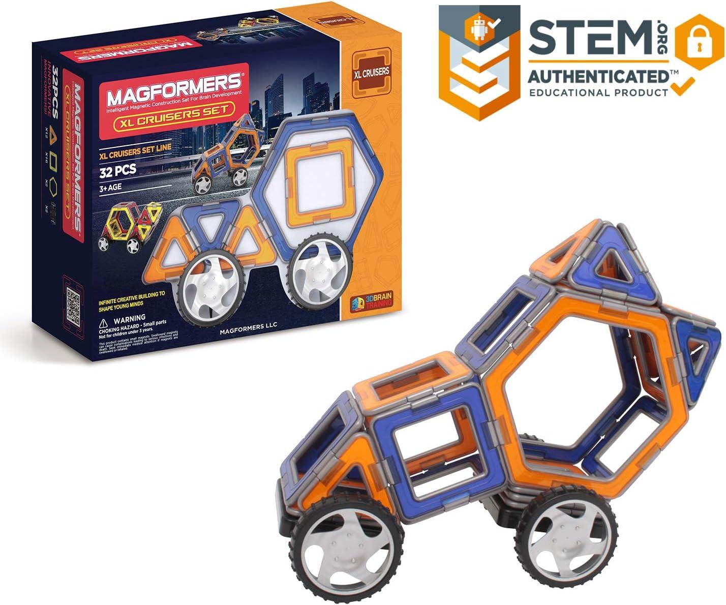 Magformers XL Cruisers Set (32-pieces) MagneticBuildingBlocks, Educational MagneticTiles Kit , MagneticConstructionSTEM Toy Set includes wheels