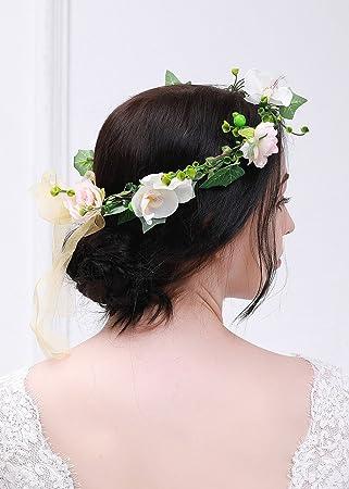 Kercisbeauty Rose Pivoine Blanc Couronne De Fleur De Mariage
