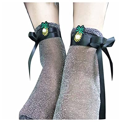Women Shiny Socks Inkach Trendy Girls Pearl Stockings Thin Section Bright Silk Pineapple Embroidery Socks