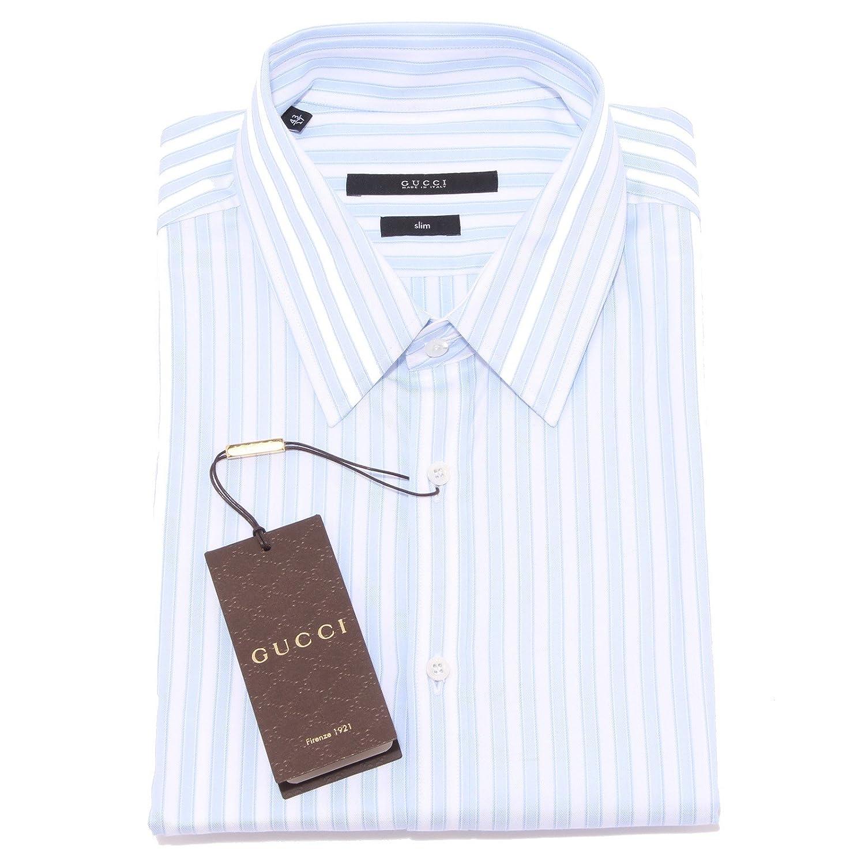 A0746 camicia uomo GUCCI slim bianco/azzurro shirt long sleeve men ...