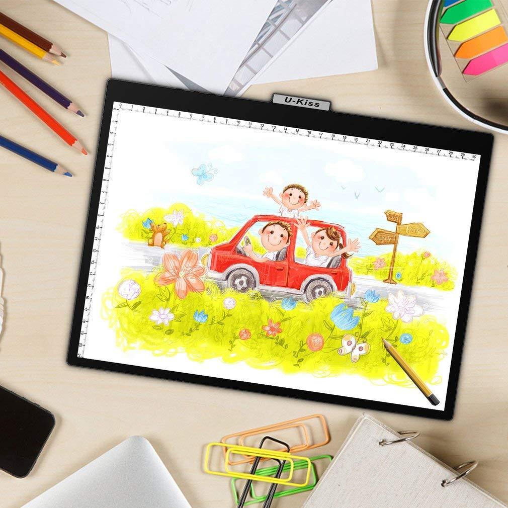 Frosted Material Lightpad Mit 10 Verstellbaren Helligkeitsstufen Kiss A4 LED Leuchttisch Zeichnungskunst Ideal F/ür Das Zeichnen Sketch Animation Mit USB-Kabel Ultraleicht Und Tragbar