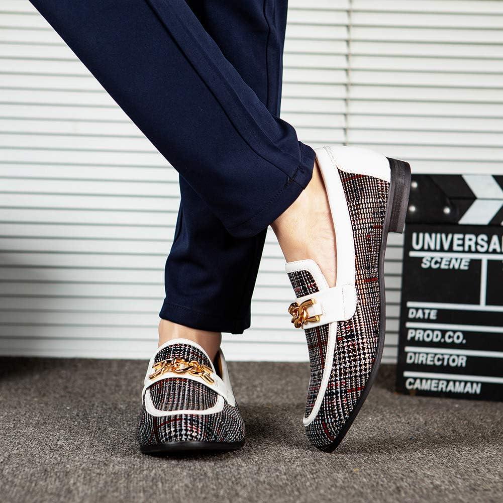 Zapatos de Cuero para Hombres Patr/ón de impresi/ón Vestido para Hombres Zapatos holgaz/án Slip-on Informal Loafer Smoking Slipper/…