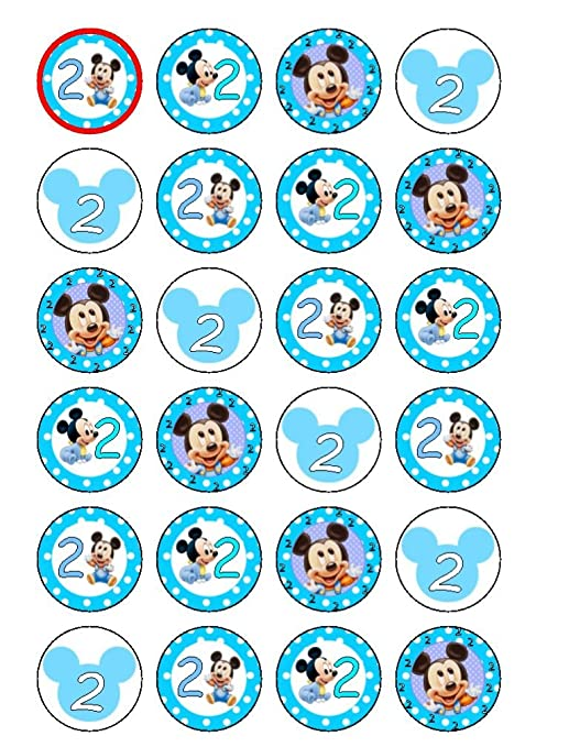 24 x 2º cumpleaños bebé Mickey Mouse comestible cupcakes ...