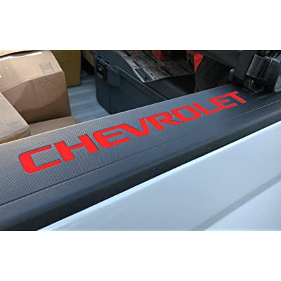 SF Sales USA - Red Bed Rail Cap Cover Inserts for Silverado 2014-2020 ABS Letters Not Decals: Automotive