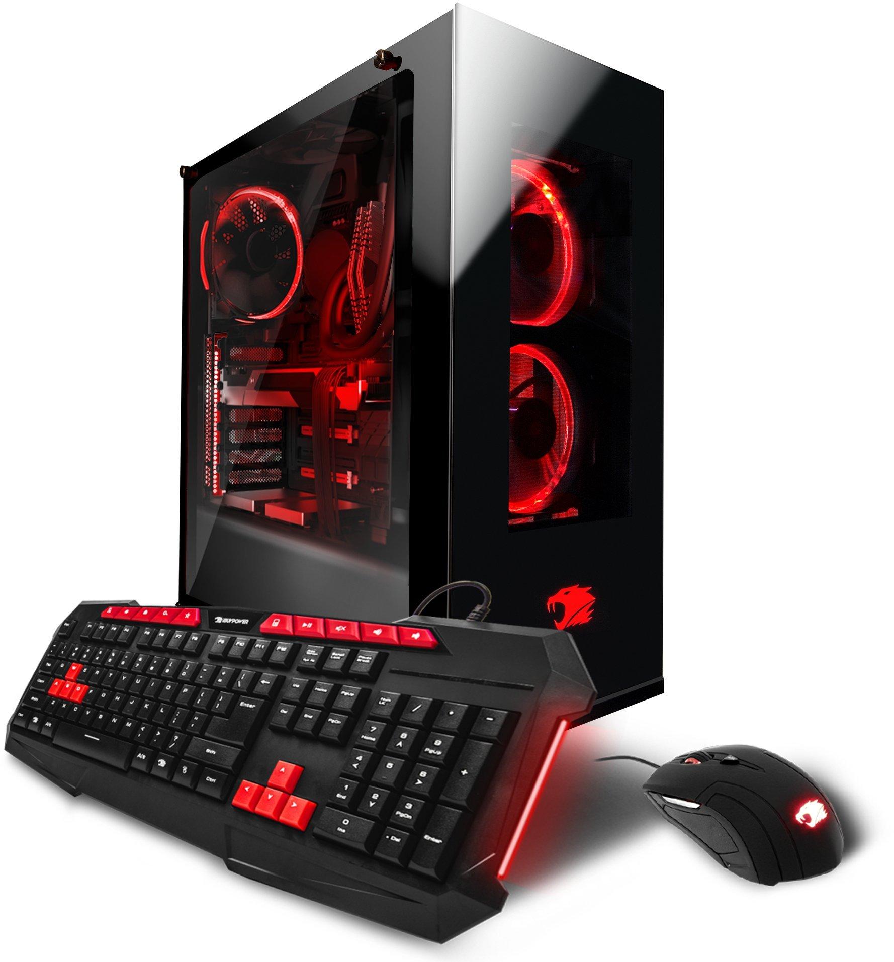 iBUYPOWER Gaming Computer PC AM5204Ei Liquid Cooled, i7-7700K 4.20 GHz, Geforce GTX 1080 Ti 11GB, 16GB DDR4 RAM, 3TB HDD, 240GB SSD, Wifi, Win 10 Home, RGB Lighting, VR Ready, Black by iBUYPOWER