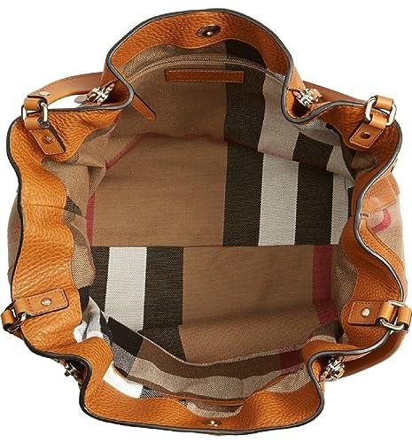 Amazon.com  Burberry Women s Brit Medium Maidstone Leather and Canvas  Handbag Brown  Clothing 5fb818fc51961