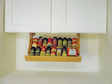 Amazon.com: Under Cabinet Spice Rack (Colonial Maple): Kitchen ...