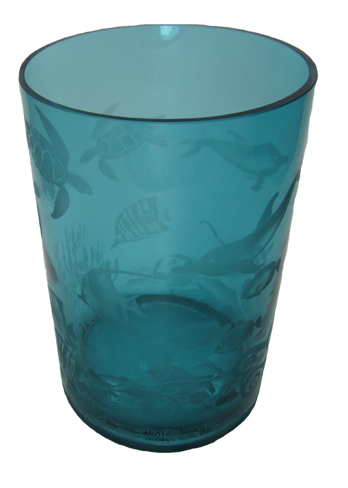 IncisoArt Hand Etched Glass Vase Permanently Sandblasted (Sand Carved) Handmade Engraved Tabletop Centerpiece (Round 8 Inch x 5 Inch, Teal Aquatic Animal Ocean Sea Life Combo)