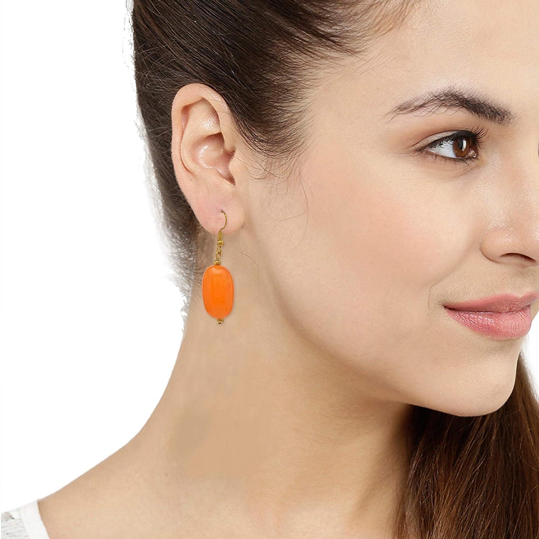 Orange JAE-3412 Zephyrr Tibetan Drop Earrings Gold Tone Casual Daily Wear Statement Jewelry For Women