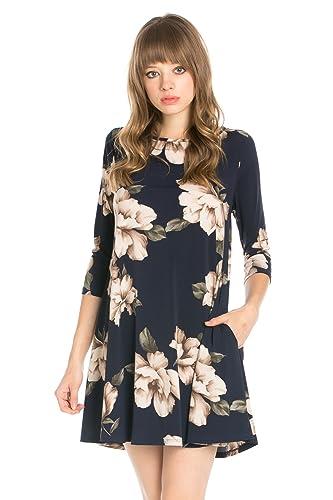 Junky Closet Women's 3/4 Sleeve Long Sleeve Print Side Pocket A-Line Tunic Dress