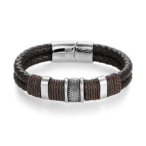 1543c6e997bec DALARAN Bracelet en Cuir tressé Marron Bracelet en Acier Inoxydable avec  Double Corde