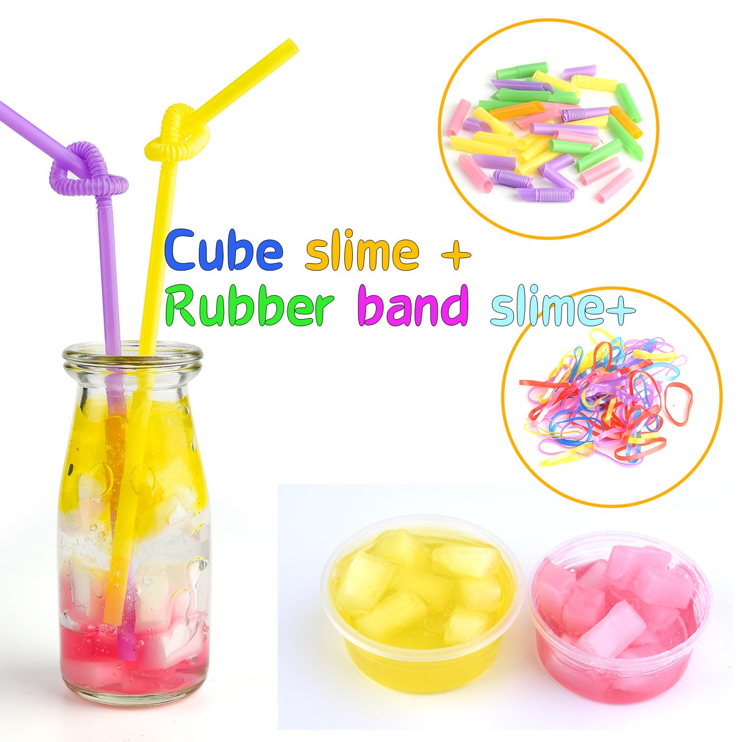 Rubber Band Net Sugar Paper Fishbowl Beads Slices Sponge Cube Imitation Gold Leaf Shell Confetti FEPITO 84 Pack Slime Supplies Kit Including Foam Balls Contain No Slime