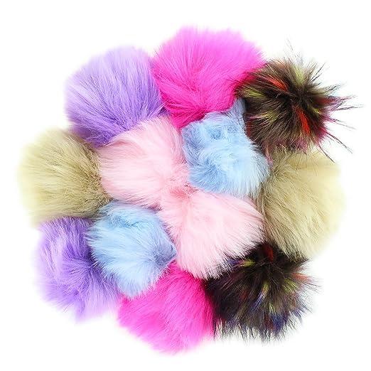 4f0125b66 12pcs Faux Fox Fur Fluffy Pompom Ball for Hat Shoes Scarves Bag Charms