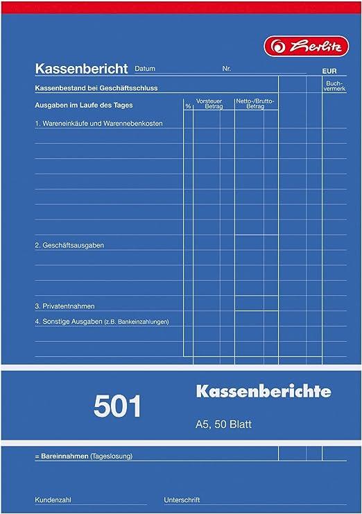 A5 hoch 10 Stück Zweckform Kassenbericht 305 50 Blatt