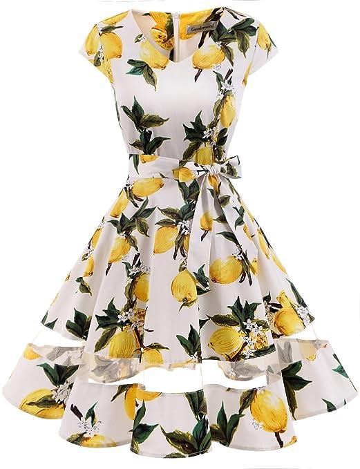 d16c290df64 Gardenwed Women's Vintage 1950s Retro Rockabilly Swing Dress Cocktail Dress  with Sleeves