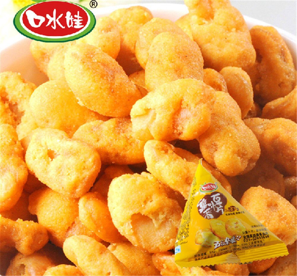 Qyz@ Hot & Spicy Chinese Snacks Food: Koushuiwa Crab Roe Beans Small Pack (450g)