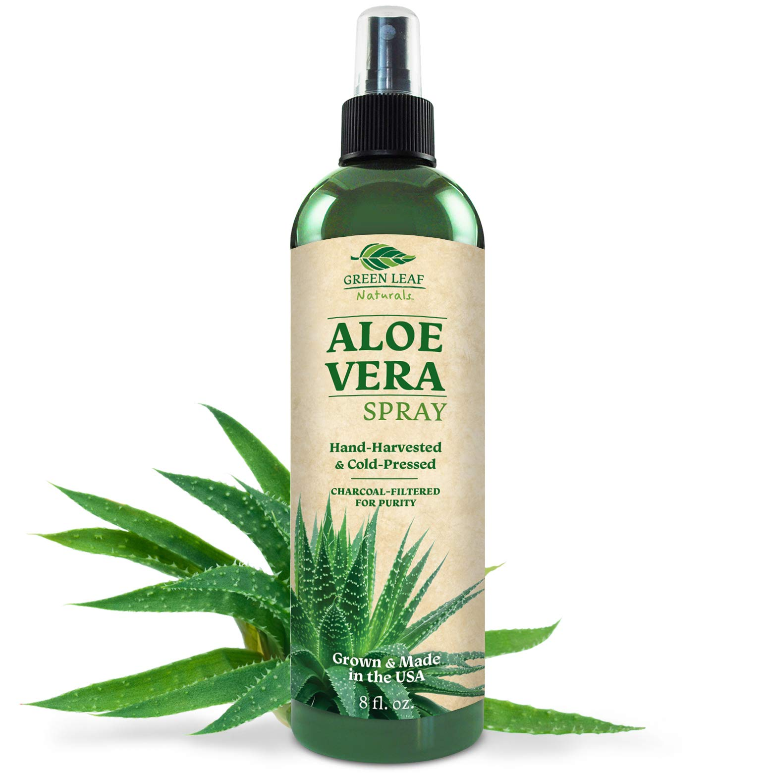 Green Leaf Naturals Organic Aloe Vera Gel Spray for Skin, Hair, Face, After Sun Care and Sunburn Relief - 99.8% Organic - 100% Pure and Natural Skin Care Moisturizer - Unscented, 8 ounces by Green Leaf Naturals