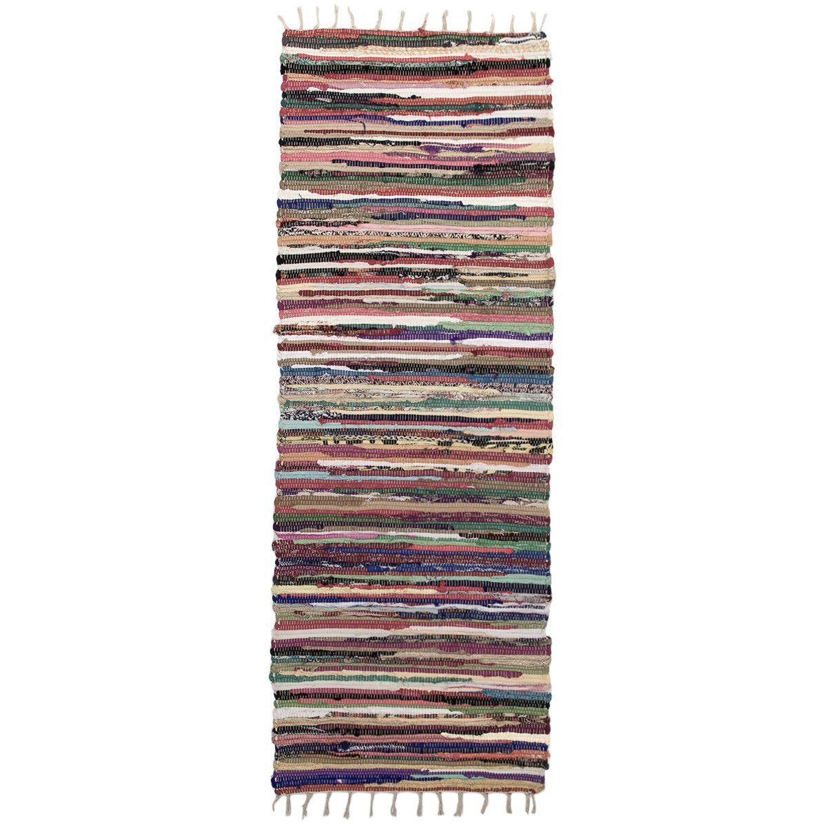 Royal Fiesta Chindi 2 x 6 Long Area Runner Rag Rug Colorful Striped Braided Recycled Fabric For Hallways by Royal