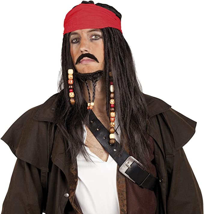 Pirates Wig with Bandanna Moustache and Goatee (peluca): Amazon.es ...