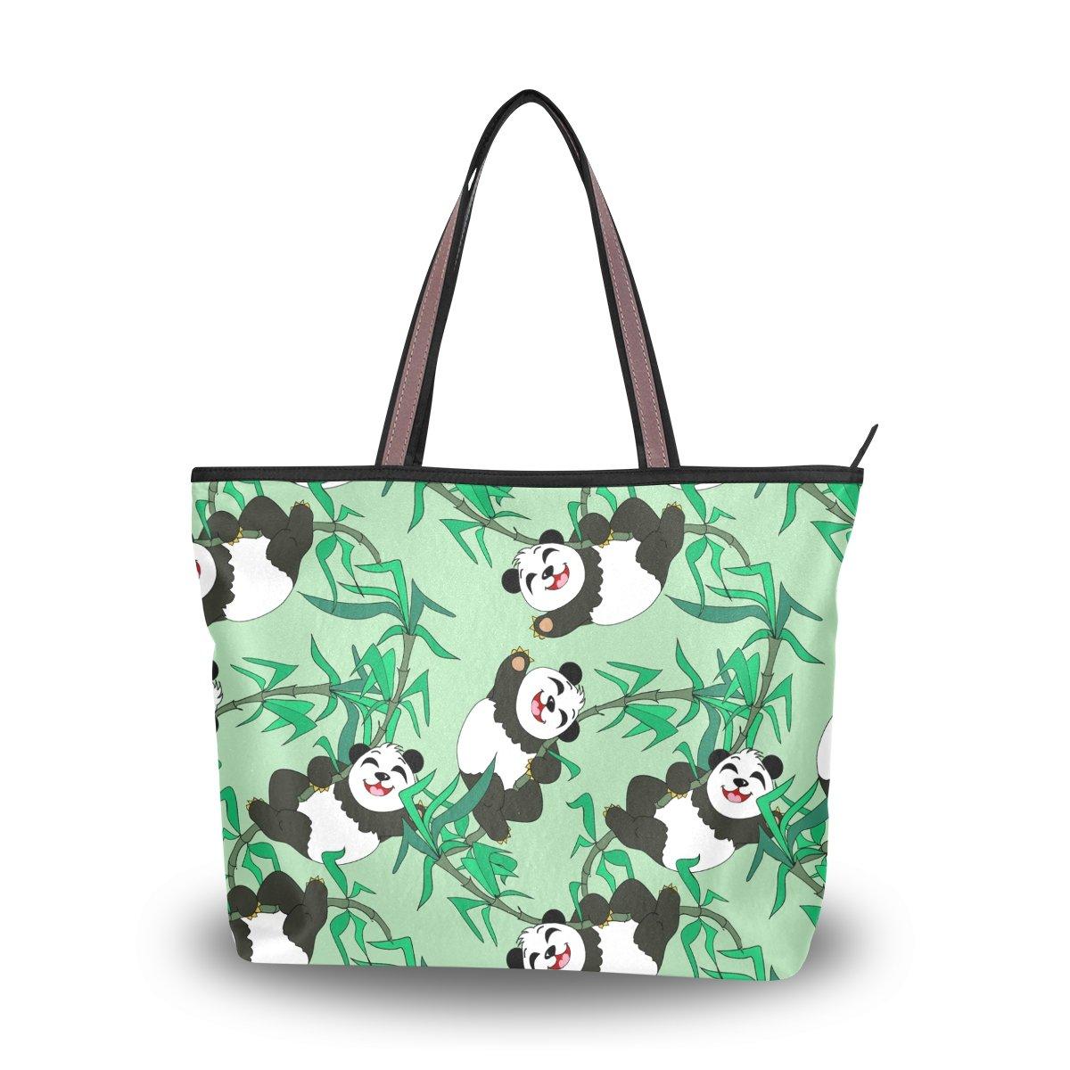 DEYYA Women Large Tote Bag Pandas Seamless Pattern Shoulder Handbags Satchel Messenger Bags for Ladies