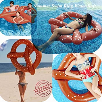 rawdah Anillo de baño en chocolate Bagel Balsa inflable gigante de natación de anillo de baño de verano de juguete de flotador de pretzel de piscina: ...