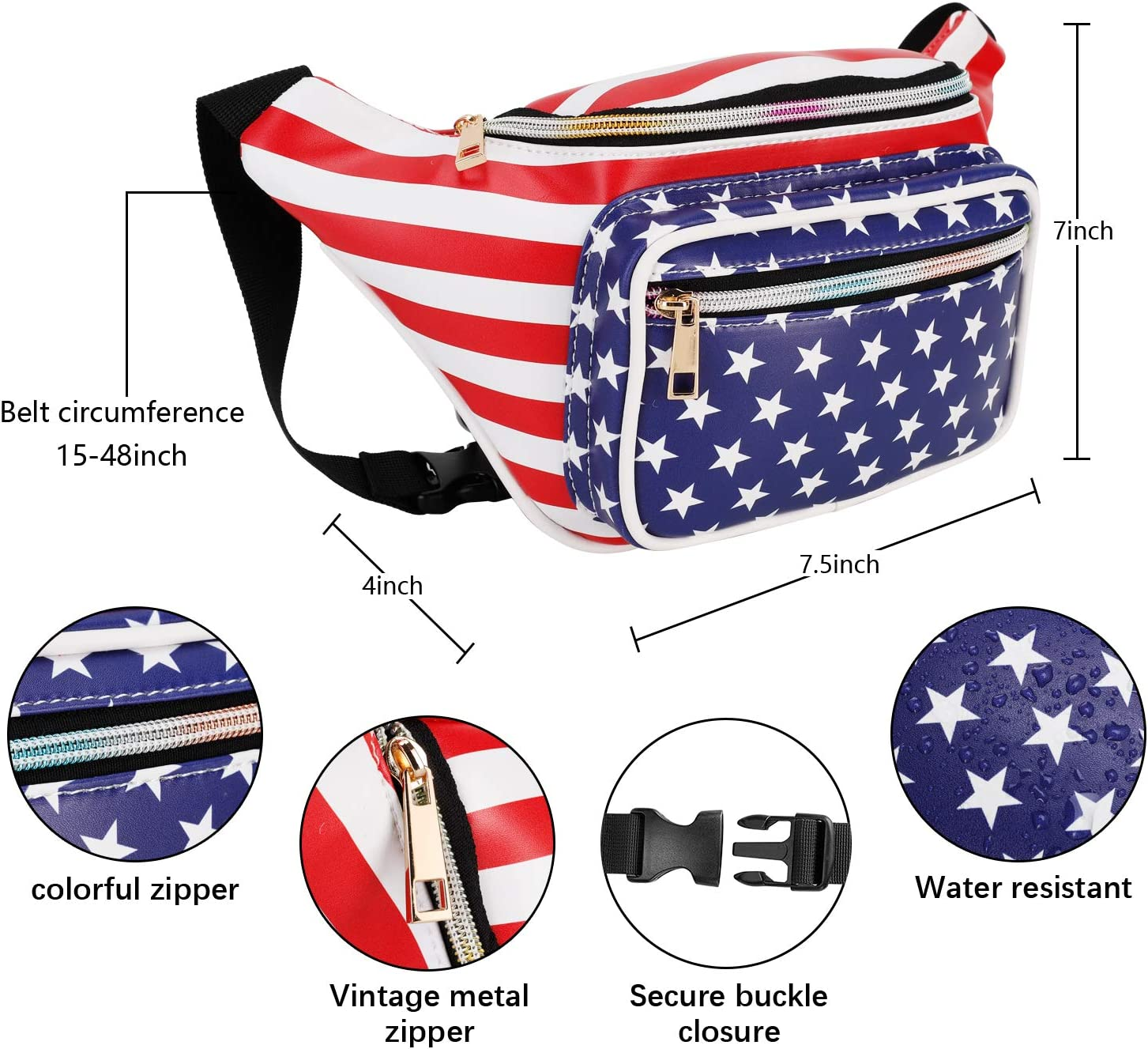 Fanny Pack American Flag Size one size Waist Fanny Pack PU Leather Bum Bag