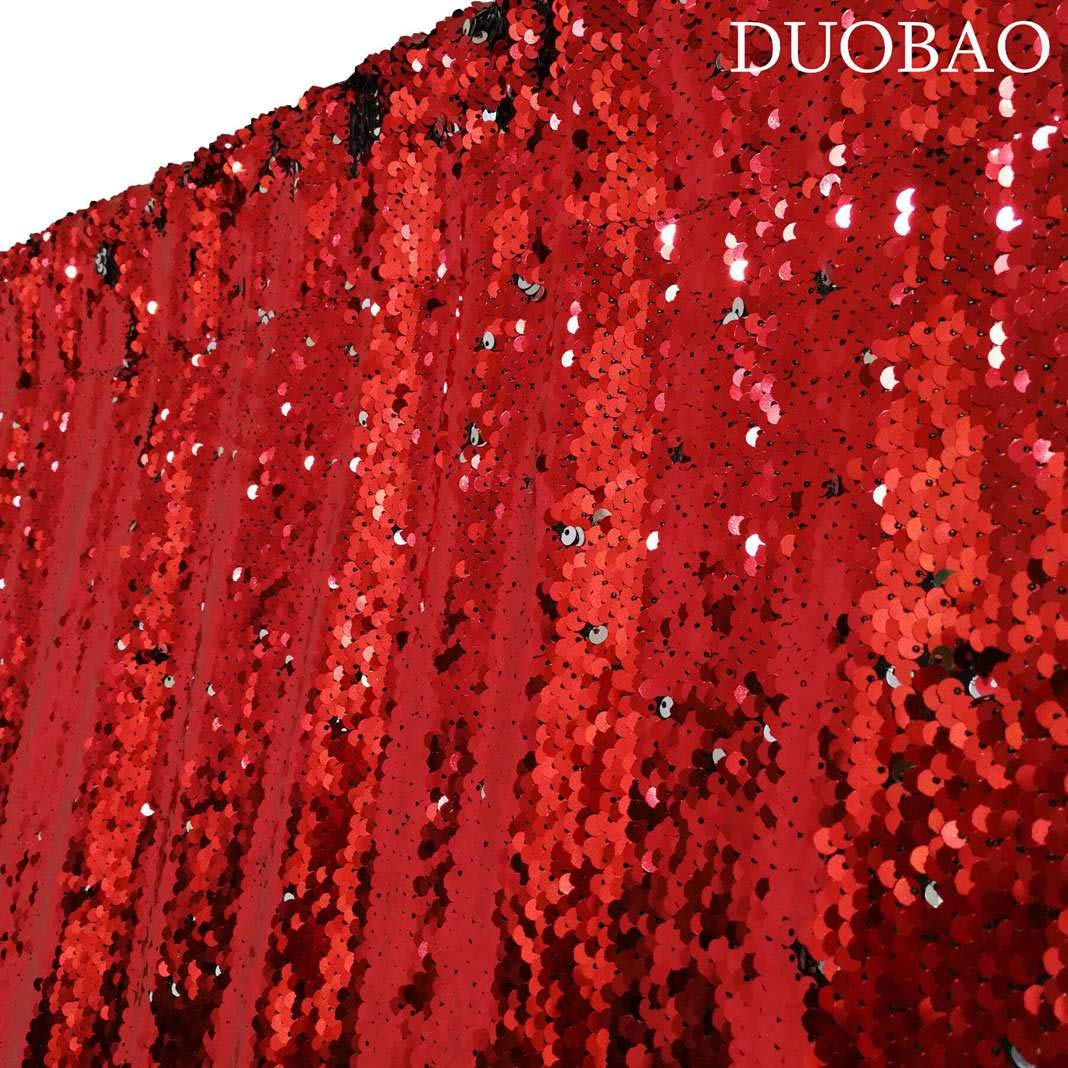 DUOBAO Sequin Backdrop 8Ft Red to Silver Mermaid Sequin Backdrop Fabric 6FTx8FT Two Tone Sequin Curtains by DUOBAO (Image #4)