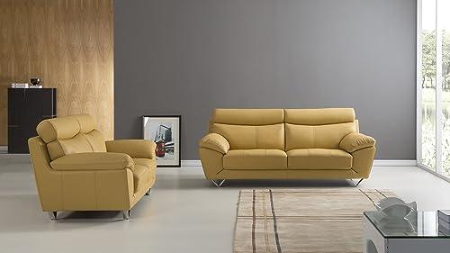 American Eagle Furniture Valencia Modern Italian Leather Living Room Sofa and Loveseat Set, 2 Piece, Yellow