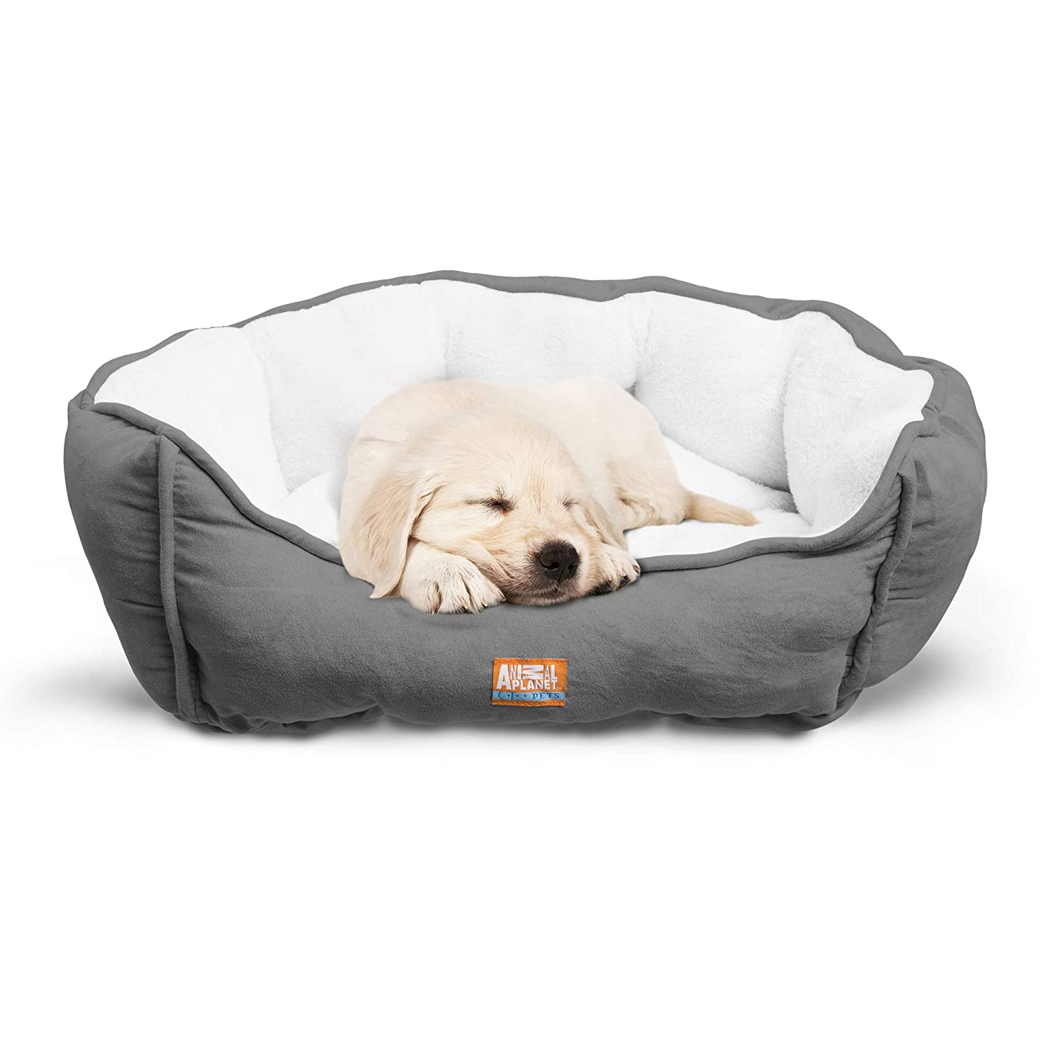 Animal Planet Round Plush Micro Suede Sherpa Bolster Pet Bed for Dogs Cats, Puppies, and Small Toy Breeds Cuddly and Warm for Burrowing and Snuggling, Easy-to-Clean 24 x 17 x 9 Gray