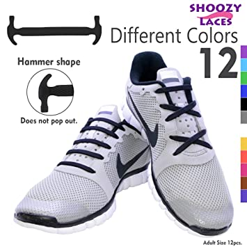 SHOOZY No Tie Shoelaces for Kids and Adults, Rubber Tieless Elastic Slip  Sneaker Shoelace Running