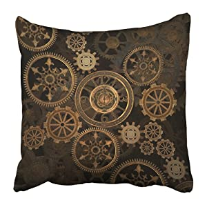Emvency Throw Pillow Cover Square 16x16 Inches Steampunk Steam Punk Gears Clock Abstract Gold Technology Vintage Bronze Century Polyester Decor Hidden Zipper Print On Pillowcases