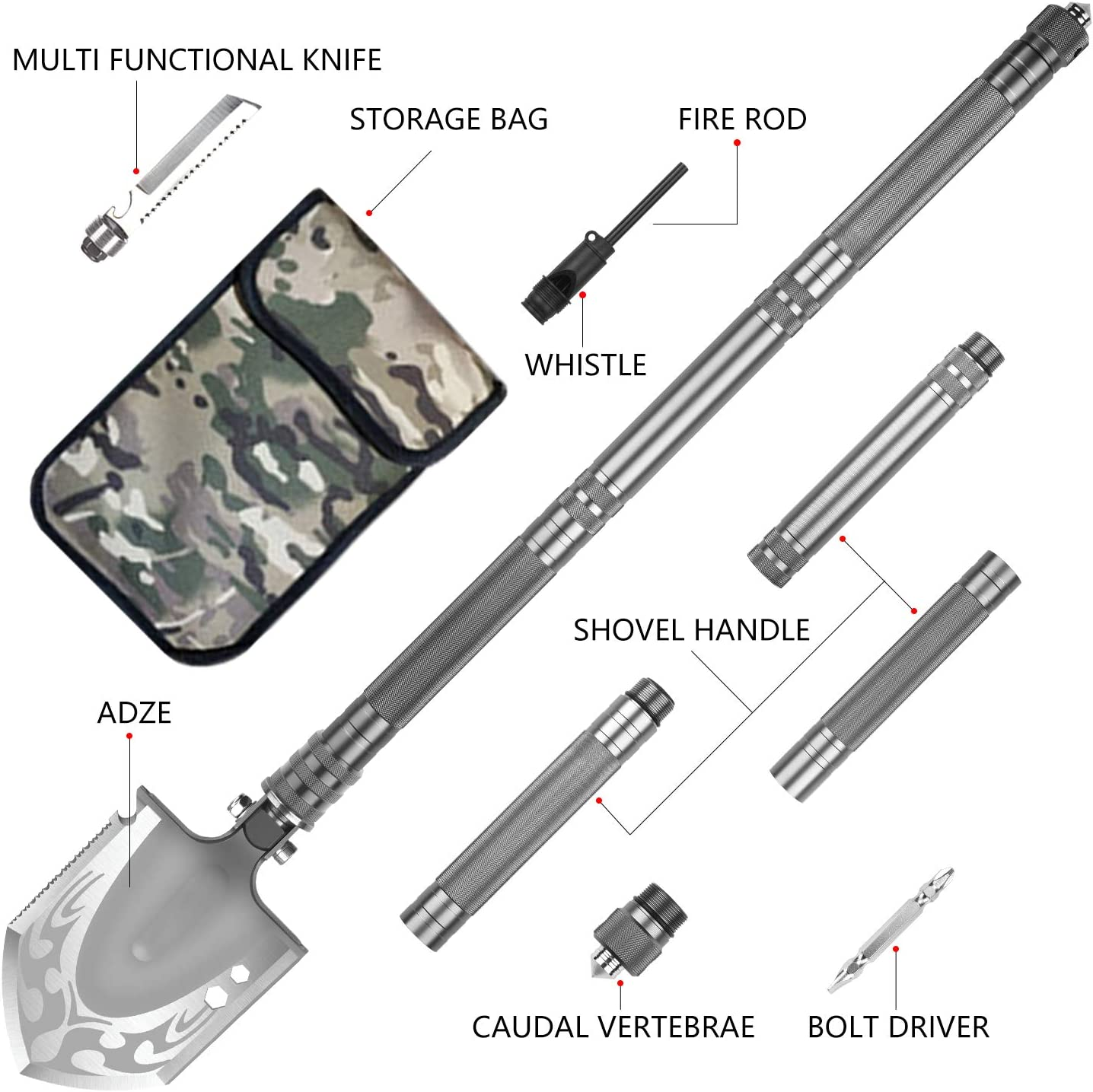 Car Emergency PAVEHAWK Military Folding Shovel Portable Survival Multitool Tactical Entrenching Tool Compact Backpacking for Hunting Hiking Fishing Gardening Camping