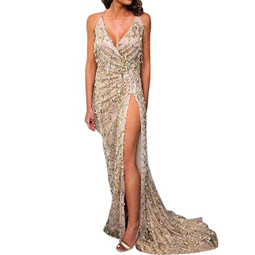 Image Unavailable. Image not available for. Color  Women s Sexy Deep V Neck  High Split Sequined Maxi Dress Gauze Mermaid Tassels ... db0b3c8a20eb
