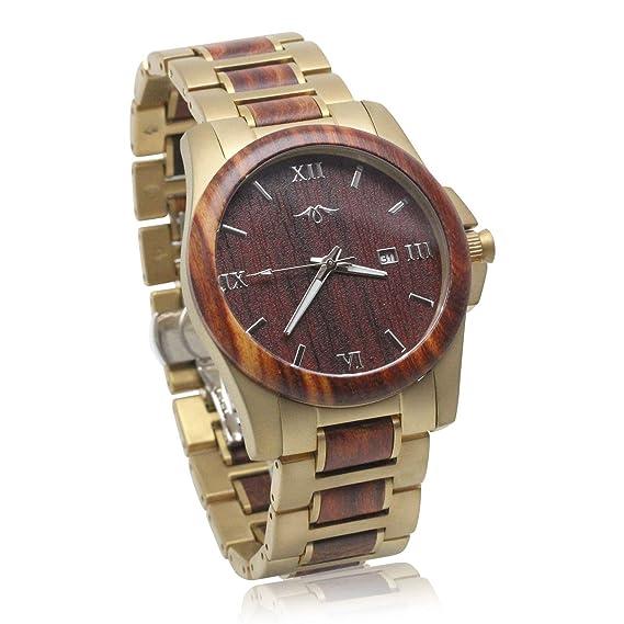 Angie Wood Creations - Reloj de pulsera para hombre, de sándalo rojo y acero inoxidable