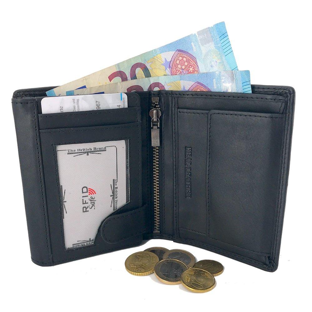 The British Brand - Leder Geldtasche Herren - Geldbeutel Männer Hochformat - Geldbörse Herren RFID Schutz-Portemonnaie