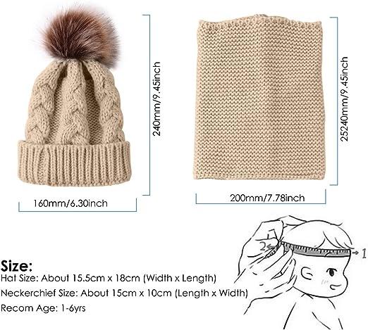 Ensemble de bonnet dhiver et cache-cou en tricot chaud pour b/éb/é Mengqiy