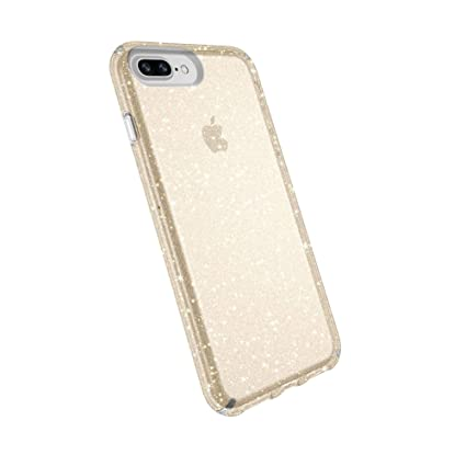 half off d6c09 b1476 Speck Products Presidio Clear + Glitter Case for iPhone 8 Plus (Also fits 7  Plus and 6S Plus/6 Plus), Clear With Gold Glitter/Clear
