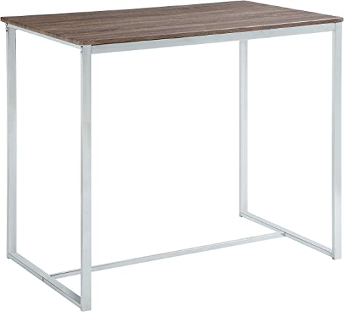 Abington Lane – Elegant Dining Room Table Chrome – Faded Hickory, 1-Piece Table