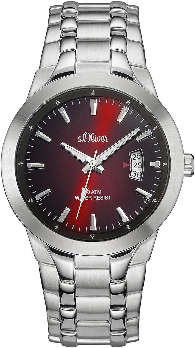 ser SO-2824-MQ - Reloj analógico de Cuarzo para Hombre, Correa de Acero Inoxidable Color Plateado